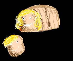 A loaf of bread with a face and a wig