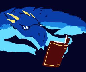 Blue dragon reading a book