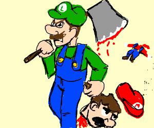 Luigi Has Slain Mario With A Axe