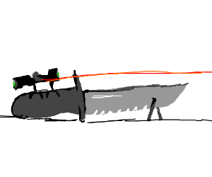 Bipod knife with laser sights and scope - Drawception