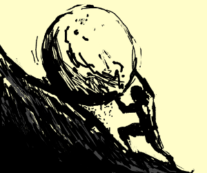 Sisyphus cant push rock up hill as its stuck