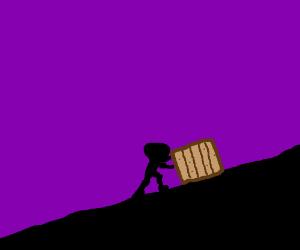 A Man Pushing A Box