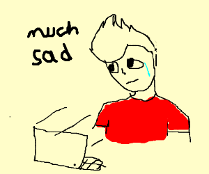 sad man in a red shirt watching brotoons