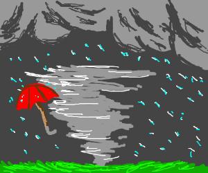 Tornado with umbrella in the rain