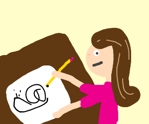 A girl drawing snails