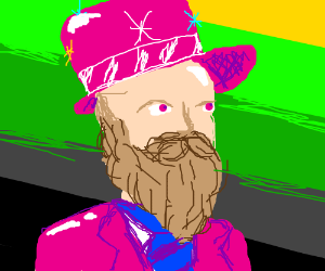 Bearded man in flashy pink suit