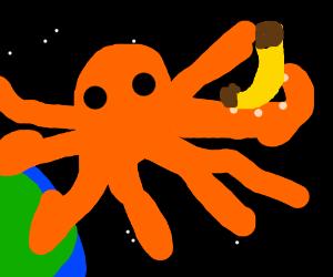 Space octopus has a banana