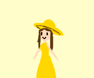 Happy woman in yellow