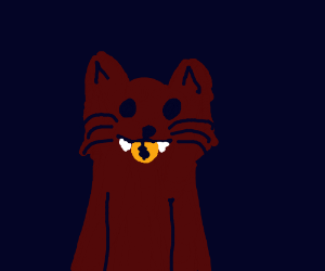 cat with gold coin inbetween teeth