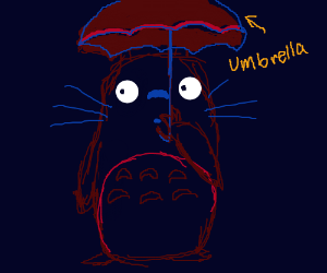 Totoro holding an umbrella but hes red