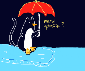 Penguin-cat holding red umbrella