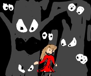 Woman walks thru forest w/many glowing eyes watching