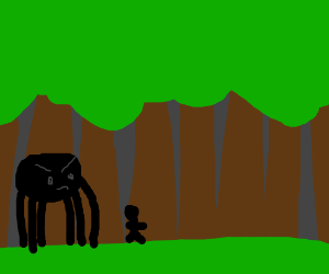 Large spider chases man trough the woods