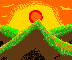 Sunset over a mountain