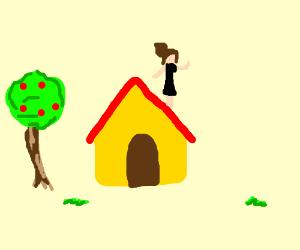 A Girl Sits On The Roof Drawception