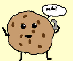 chocolate chip cookie receives a call