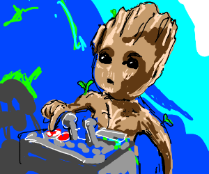 Baby Groot Just Wants To Hit The Death Button