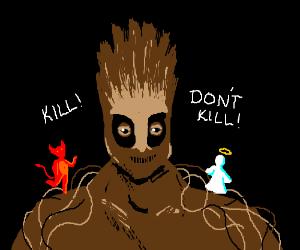 Groot must choose between killing and not kill