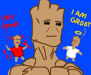 Groot's Shoulder Angel & Devil