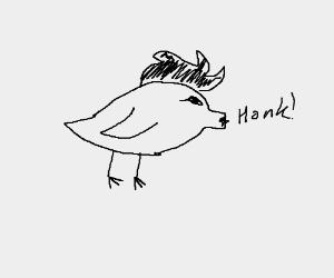 A bird with a pig nose