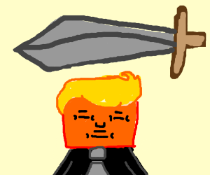 Image result for caricature trump sword of damocles