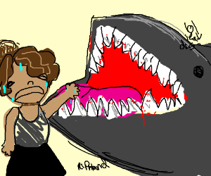 Girl putting hand in sharks mouth (rip hand)