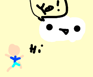 a cloud talking to a human drawception