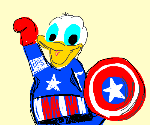 sc 1 st  Drawception & donald duck wearing a captain america costume