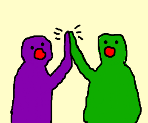 Purple and green guys high five