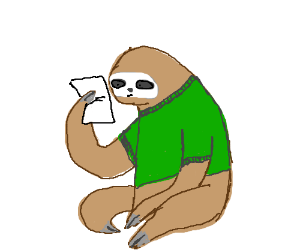 a sloth in a green shirt