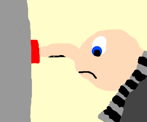 gru pressing a button with his nose