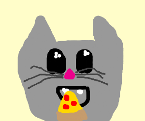 Cat enjoys pizza