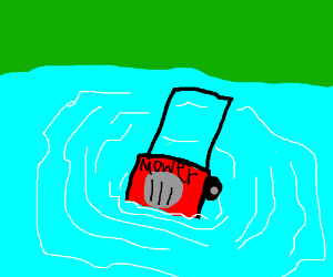 sinking lawnmower