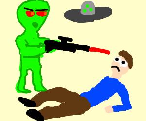 A alien asalt's a human alien has a laser gun