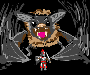 Knight v. Giant bat in a cave