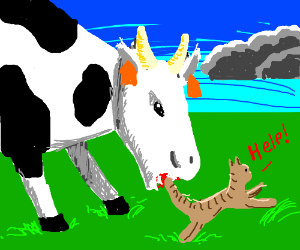 awesome drawing of a cow eating a cat  drawception