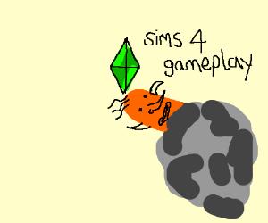Orange Sims 4 in a rock.