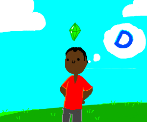black guy in the sims thinking of drawception