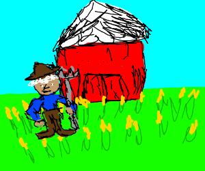 A farmer on his farm
