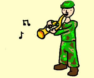 Soldier playing trumpet