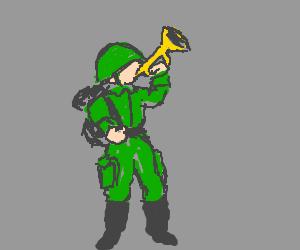 Green trumpet soldier