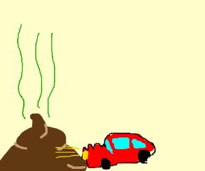 poop crashing a car