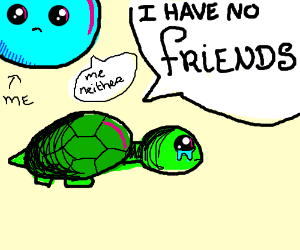 a sad old turtle with no friends