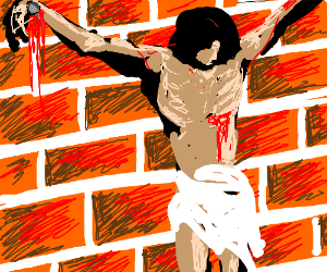 Jesus nailed to a wall