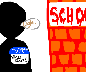 A boy named Who Cares goes to school