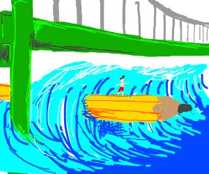 Man surfs a 300-foot pencil under city bridge.