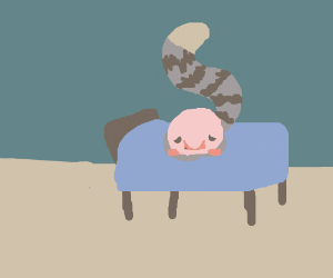 Blobfish with a tail sits on a bed