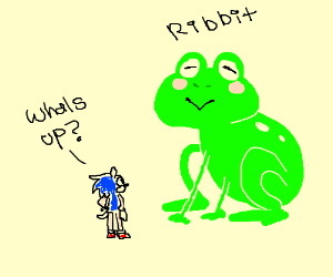 sonic talks to giant frog thing