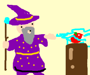 Wizard killing a tomato