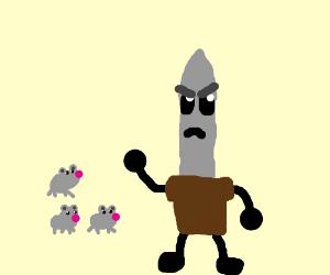 Rats gang up on swords man